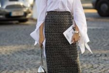 With tweed midi skirt, black lace up flat boots and unique bag