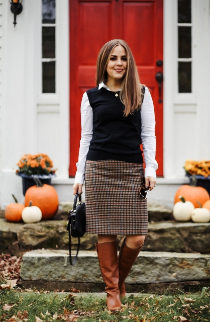 With white button down shirt, checked pencil skirt, brown high boots and black bag