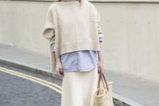 With white midi skirt, scarf, tote bag and white sneakers