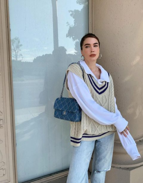 With white shirt, velvet chain strap bag and loose jeans