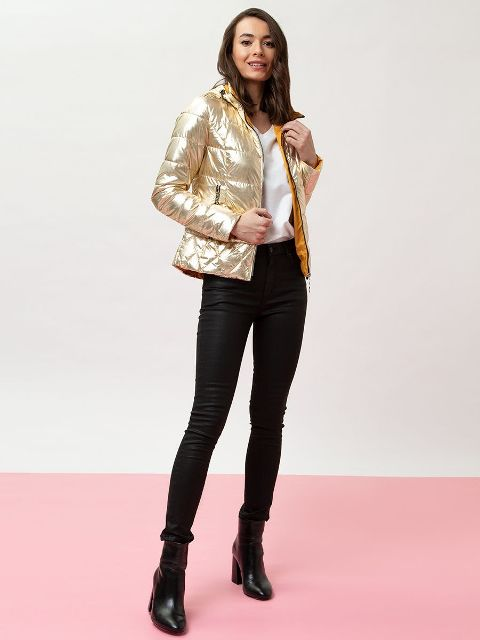 With white t-shirt, black skinny pants and black leather heeled boots