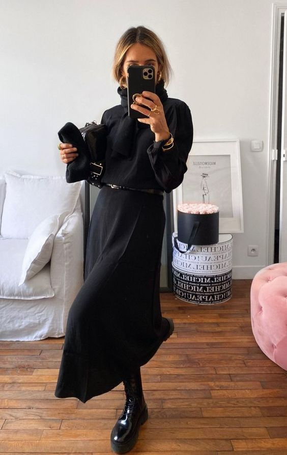 a black midi dress with a black belt, a black scarf and cool lacquer chunky boots for a lovely fall look