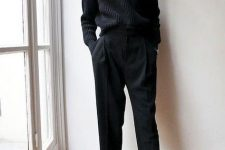 a black ribbed jumper, cropped trousers, black sock boots with embellishments for an accent will do for work