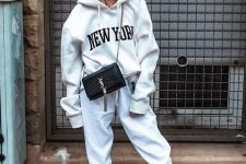 a cool look with a hoodie and sweatpants