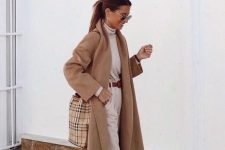 a neutral fall look with a neutral turtleneck, high waisted trousers, white sneakers, a brown belt and a plaid tote