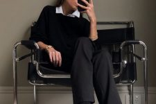 a white shirt, a black jumper over it, black trousers and men-style shoes are perfect for going to work