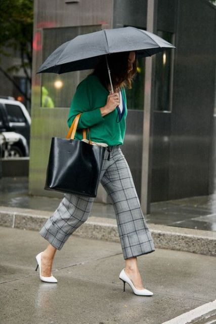 grey plaid trousers, white shoes, a white t-shirt and a green V-neckline jumper plus a black tote for now