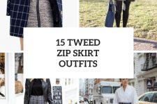 15 Wonderful Looks With Tweed Zip Skirts