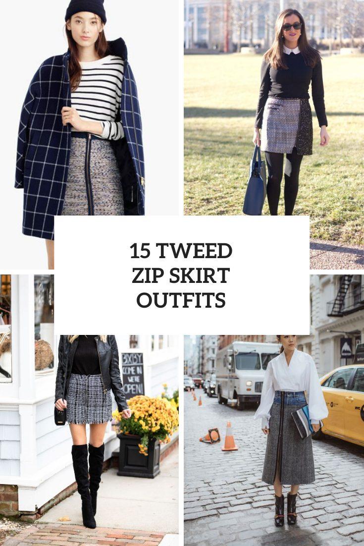 Wonderful Looks With Tweed Zip Skirts