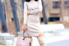 With beige belted mini dress and pale pink and navy blue bag