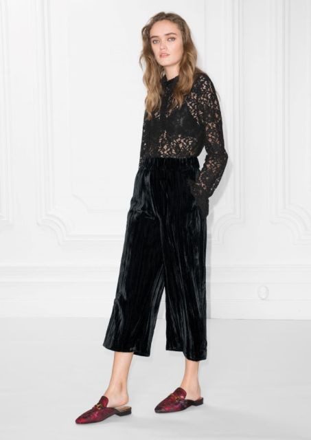 With black lace blouse and marsala leather flat mules