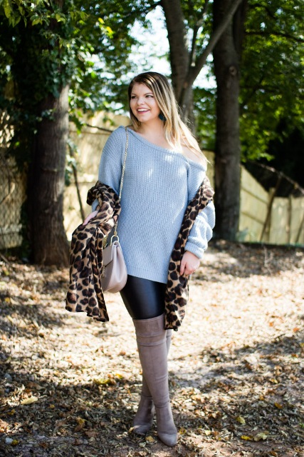 With black leggings, beige chain strap bag, leopard printed scarf and gray over the knee boots