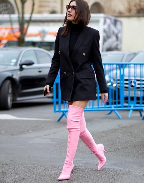 With black turtleneck, black blazer dress and sunglasses