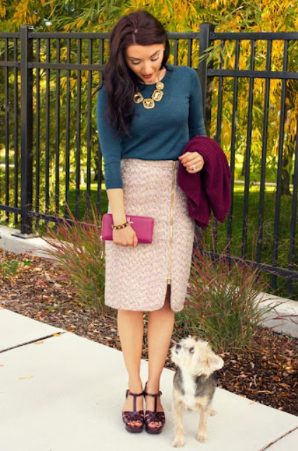 With blue shirt, marsala cardigan, pink clutch and platform shoes