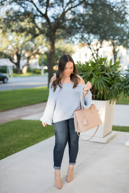With cuffed jeans, beige bag and beige embellished shoes