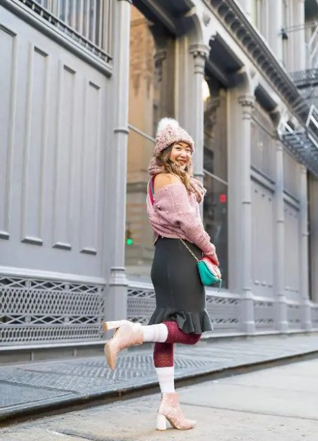 With gray ruffled skirt, pale pink pom pom hat, chain strap bag and pale pink velvet boots