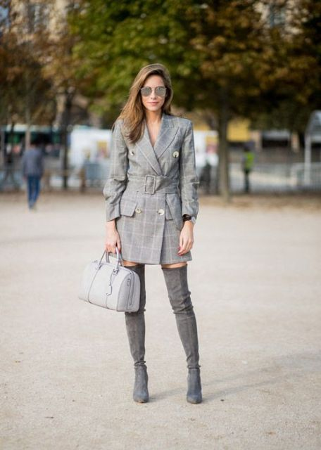 With gray suede over the knee boots and light gray bag