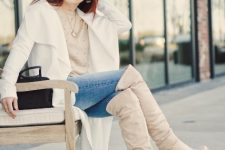 With jeans, beige polka dot sweater, black bag and white coat