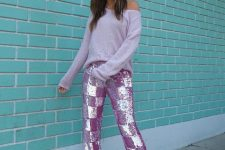 With lilac checked glitter pants and silver high heels
