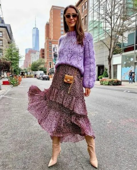 With lilac loose sweater, printed tiered midi skirt and beige mini bag