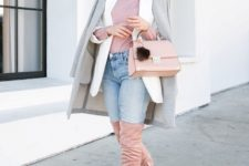 With lilac shirt, light blue jeans, pale pink bag, white blazer and gray coat