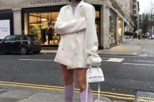 With lilac shirt, white blazer dress and white mini bag
