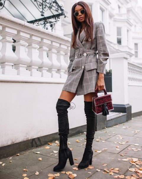 With marsala and black tassel bag and dark gray suede over the knee boots