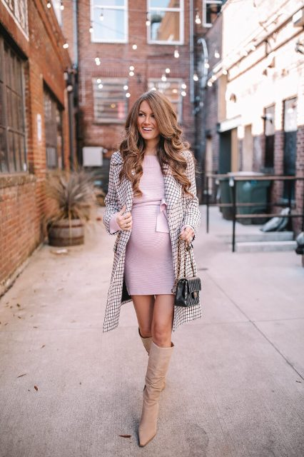 With pale pink belted mini dress, checked coat and chain strap bag