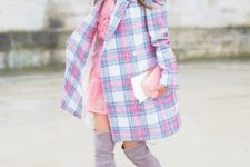With pale pink mini dress, pink, light blue and white checked coat and pale pink clutch