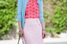 With pink blouse, light blue cardingan and navy blue chain strap bag