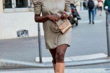With printed puff sleeved mini dress and beige mini bag
