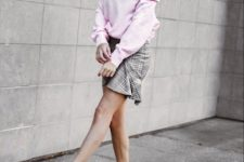 With white beret, checked ruffled mini skirt and white low heeled boots