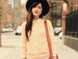 21 Trendy Fall Outfits With Wide Brim Hats12