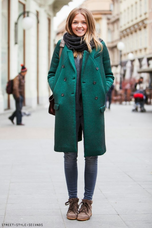 Picture Of cool ways of wearing a bright coat this winter  1