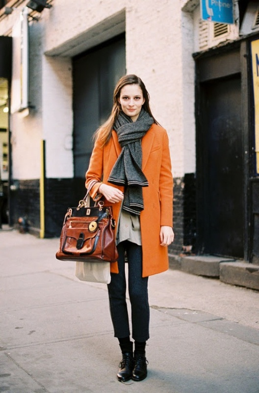 Picture Of cool ways of wearing a bright coat this winter  19