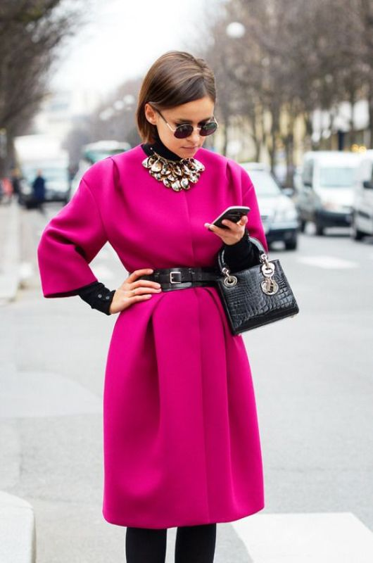 Picture Of cool ways of wearing a bright coat this winter  2