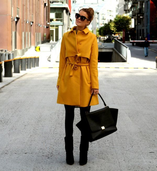 Picture Of cool ways of wearing a bright coat this winter  3
