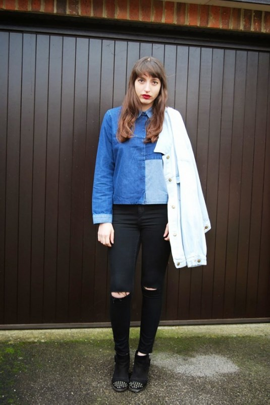 Picture Of trendy outfits with patchwork denim to recreate  13