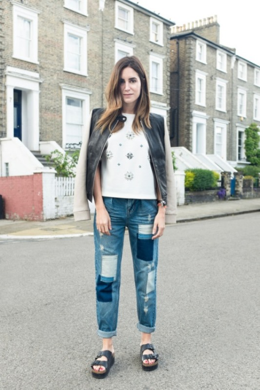 Picture Of trendy outfits with patchwork denim to recreate  17