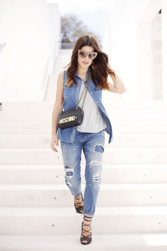 Picture Of trendy outfits with patchwork denim to recreate  18
