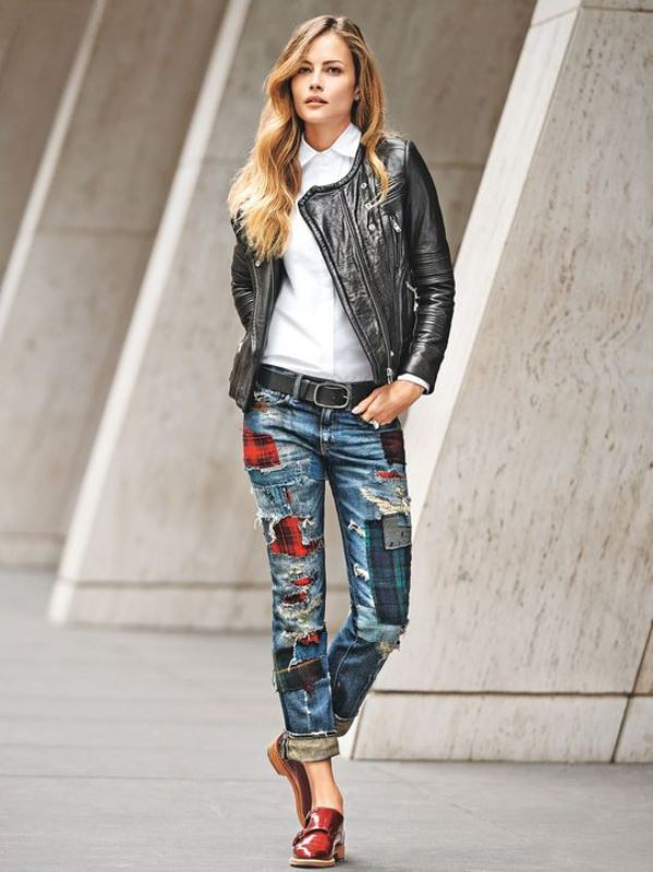 Picture Of trendy outfits with patchwork denim to recreate  6