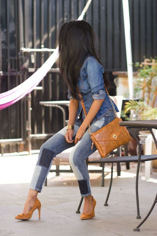 Picture Of trendy outfits with patchwork denim to recreate  8