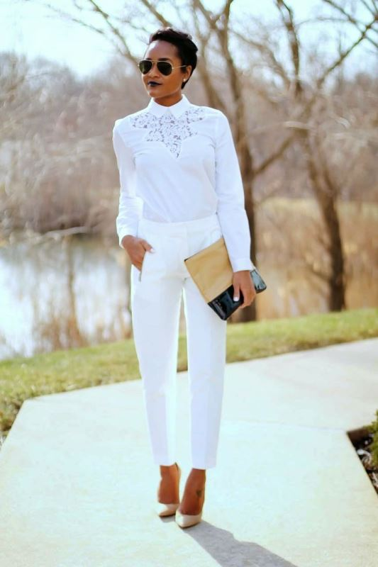 Picture Of elegant all white office appropriate outfits to copy  11