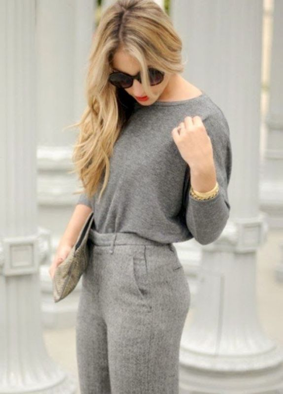 Picture Of shades of grey women office wear ideas  24