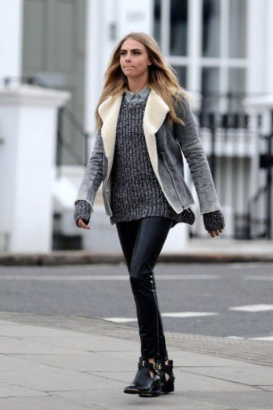 Picture Of stylish ways to wear cozy chunky knit sweater right now  17