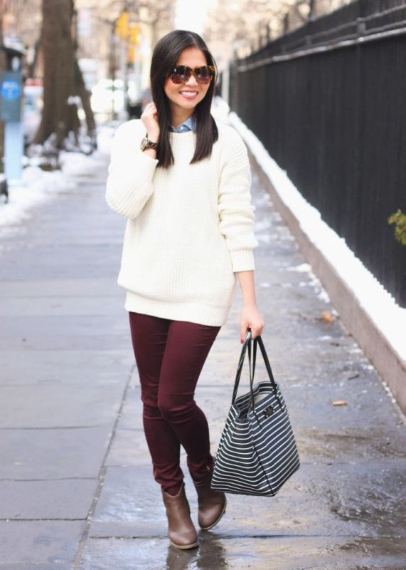Picture Of stylish ways to wear cozy chunky knit sweater right now  18