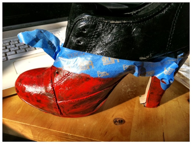 Picture Of Adorable DIY Viktor & Rolf Inspired Red And Black Booties 7