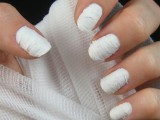 white cheesecloth nails inspired by mummies are a nail art you won't see often at Halloween