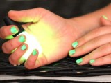 neon green nails always look special at Halloween and will bring a touch of bold color