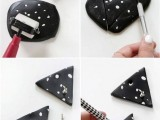 Black And White DIY Triangle Clay Necklace Hooks5